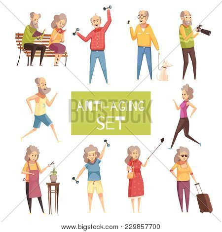 Anti Aging Isolated Icons Set With Elderly People Traveling Walking With Pet Jogging Reading In Park