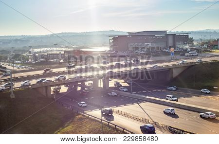 Pretoria, South Africa - March 6, 2018: Major Intersection On Motor Way Between Cities.