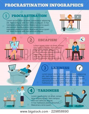 Procrastination At Workplace Types Signs And Avoiding Tips 4 Cartoon Banners Infographic Poster With