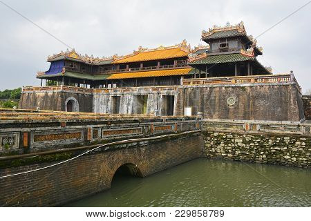 Noon Gate, One Of The Entrances To The Imperial City In Hue, Vietnam