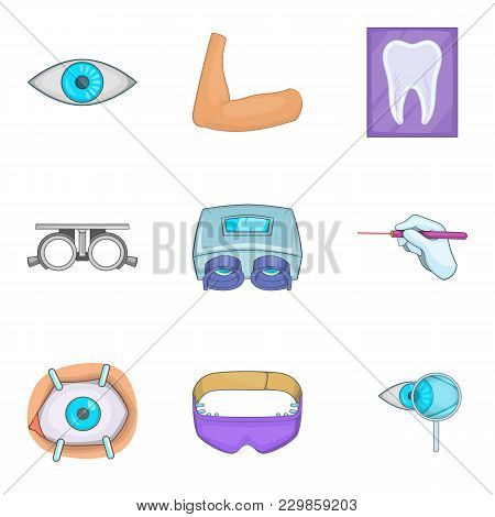 Surgical Procedure Icons Set. Cartoon Set Of 9 Surgical Procedure Vector Icons For Web Isolated On W