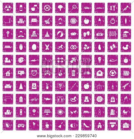 100 Maternity Leave Icons Set In Grunge Style Pink Color Isolated On White Background Vector Illustr