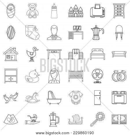 Grandparent Icons Set. Outline Set Of 36 Grandparent Vector Icons For Web Isolated On White Backgrou