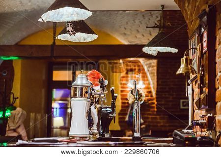 Bar Interior In Evening. Bar Counter. Place To Drink Beer