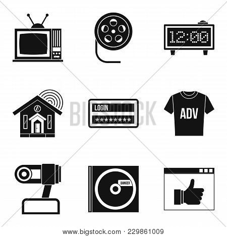Watching Tv Icons Set. Simple Set Of 9 Watching Tv Vector Icons For Web Isolated On White Background