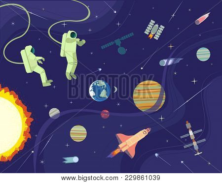 Astronaut In Outerspace. Colorful Abstract Cartoon. Shuttle Rocket, Satellite In Cosmos. Moon, Earth