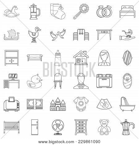 Parental Control Icons Set. Outline Set Of 36 Parental Control Vector Icons For Web Isolated On Whit