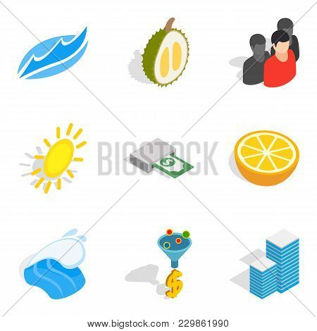 Business Tour Icons Set. Isometric Set Of 9 Business Tour Vector Icons For Web Isolated On White Bac