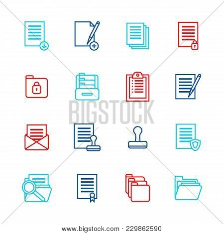 Folders Thin Line Color Icon Set Symbol Office Or School Stationery Accessory For Web And App. Vecto