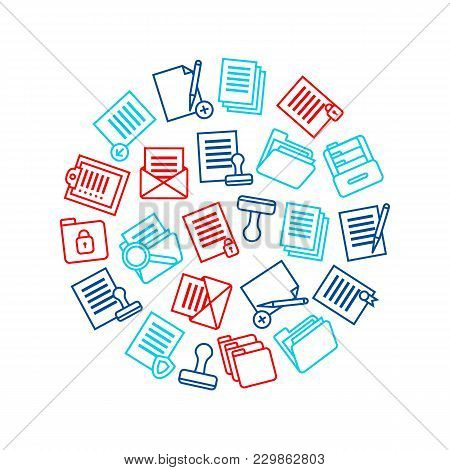 Folders Thin Line Round Design Template Symbol Office Or School Stationery Accessory For Web And App