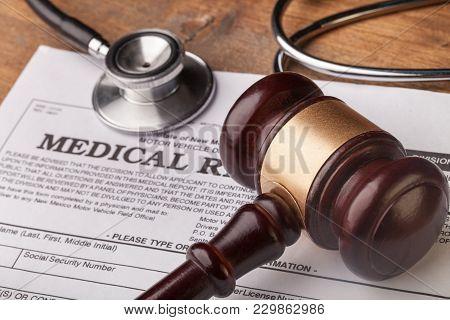 Stethoscope Gavel Background Health Board Medical Prepare