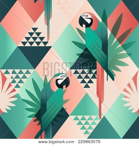 Exotic Beach Trendy Seamless Pattern, Patchwork Illustrated Floral Vector Tropical Leaves. Jungle Re