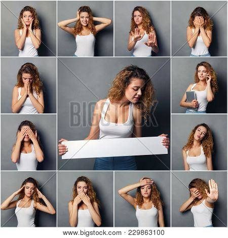 Set Of Young Girl Emotions. Casual Redhead Woman Grimacing And Gesturing On Camera, Holding White Ba