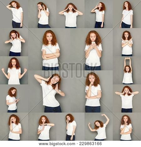 Set Of Young Girl Emotions. Casual Redhead Woman Grimacing And Gesturing On Camera At Gray Studio Ba