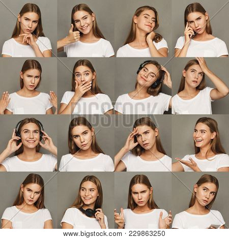 Different Emotions Collage. Set Of Beautiful Blonde Girl Emotional Portraits. Positive And Negative