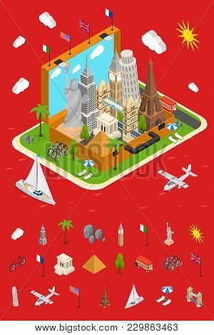 Landmarks In Open Vintage Travel Suitcase Tourism Concept And Elements Part Isometric View Monuments