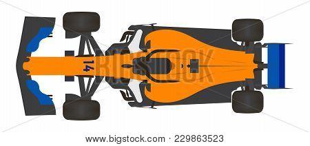 Illustration Of A Orange Formula One Car