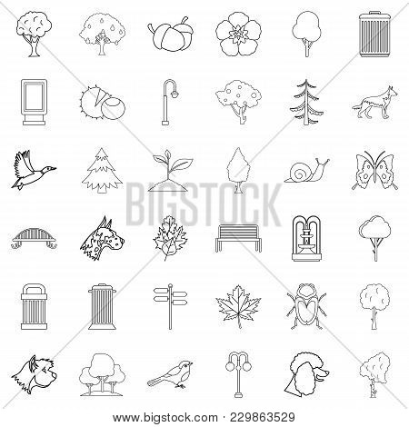Small Square Icons Set. Outline Set Of 36 Small Square Vector Icons For Web Isolated On White Backgr
