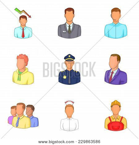 Best People Icons Set. Cartoon Set Of 9 Best People Vector Icons For Web Isolated On White Backgroun