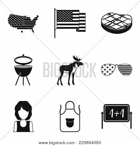 Usa Style Icons Set. Simple Set Of 9 Usa Style Vector Icons For Web Isolated On White Background