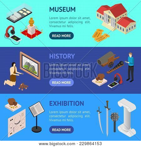 Museum Exhibits Galleries Banner Horizontal Set Isometric View Include Of Ticket, Sculpture, Statue,