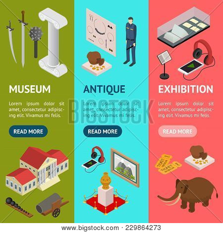 Museum Exhibits Galleries Banner Vecrtical Set Isometric View Include Of Ticket, Sculpture, Statue,