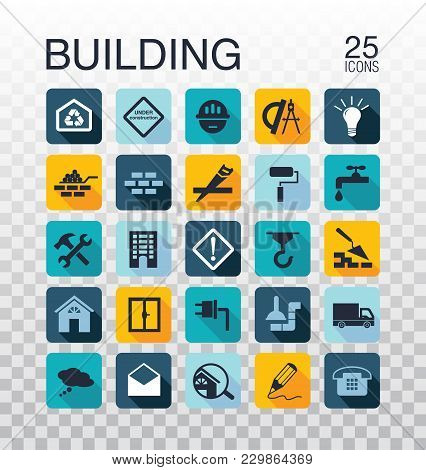 Flat Construction Icons. Web Icons Set - Building, Construction And Home Repair Tools. Flat Style Ve