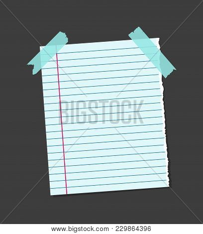 Realistic Blank Note Color Paper With Blue Sticky Adhesive Tape Concept Reminder Board Office For Bu