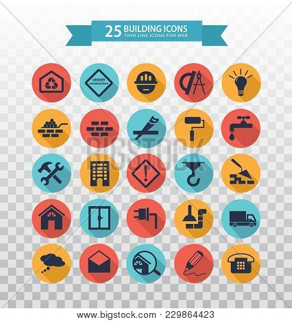 Flat Construction Icons. Web Icons Set - Building, Construction And Home Repair Tools. Icons For Con