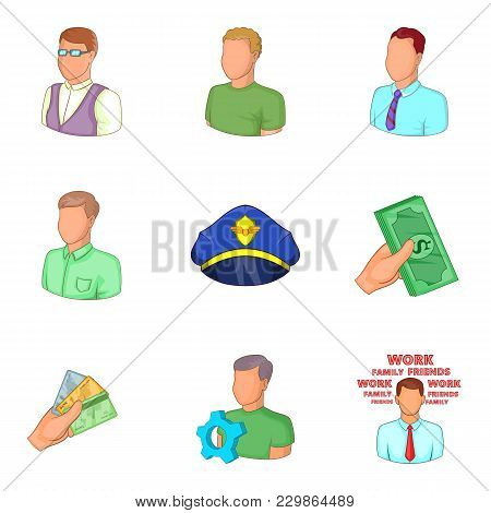 Private Profile Icons Set. Cartoon Set Of 9 Private Profile Vector Icons For Web Isolated On White B