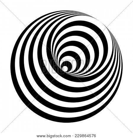 illustration of an optical illusion black and white circles cone