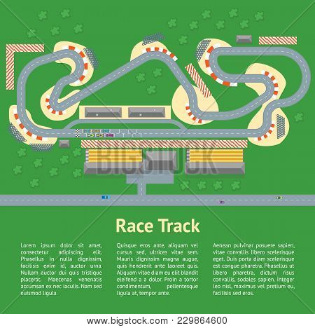 Cartoon Race Track With Cars And Landscape Card Poster Auto Competition Topography Concept Flat Desi