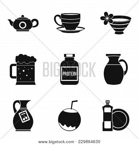 Kitchen Kettle Icons Set. Simple Set Of 9 Kitchen Kettle Vector Icons For Web Isolated On White Back