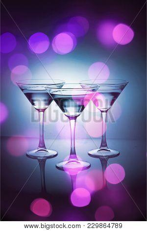 Glasses Martini Bar Color Pub Red Background