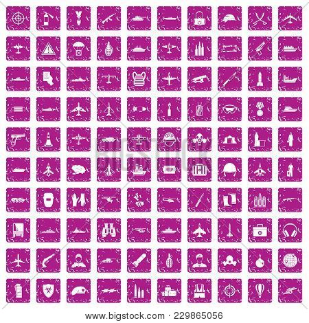 100 Military Resources Icons Set In Grunge Style Pink Color Isolated On White Background Vector Illu