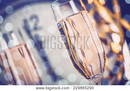 Clock Champagne Champagne Flute Alcoholic Drink Background Nobody Luxury