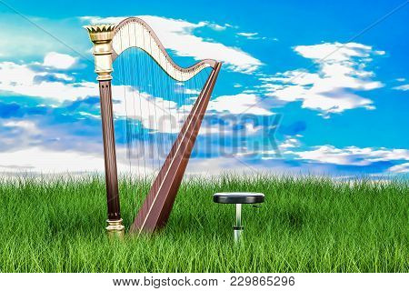 Harp In Green Grass Against Blue Sky, 3d Rendering