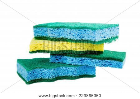 Isolated Colored Sponges Stacked On White Background