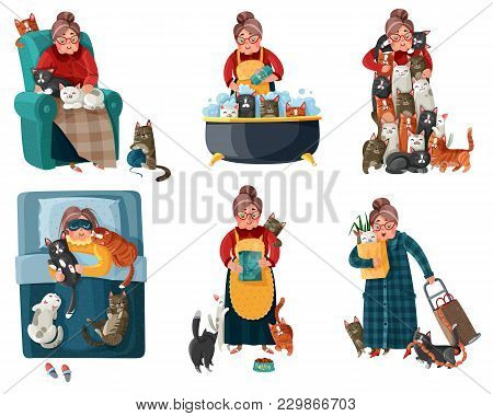 Lonely Lady With Cats During Shopping, Feeding, Sleeping, Relaxation In Armchair Set Of Icons Isolat