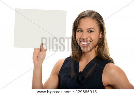 Portrait of beautiful African American businesswoman holding blank sign isloated over white background