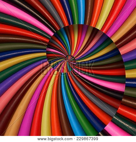 Colorful Rainbow Sharpen Pencils Spiral Background Pattern Fractal. Pencils Background Pattern. Scho