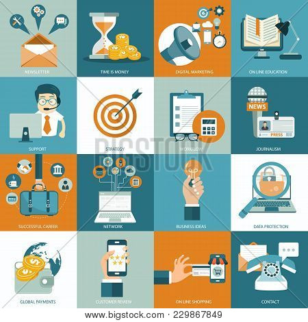 Set Of Flat Design Icons For Business, Pay Per Click, Creative Process, Searching, Web Analysis, Wor