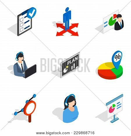 Technical Expert Icons Set. Isometric Set Of 9 Technical Expert Vector Icons For Web Isolated On Whi