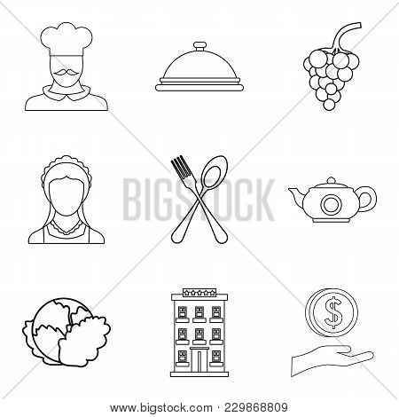 Vegan Cafe Icons Set. Outline Set Of 9 Vegan Cafe Vector Icons For Web Isolated On White Background