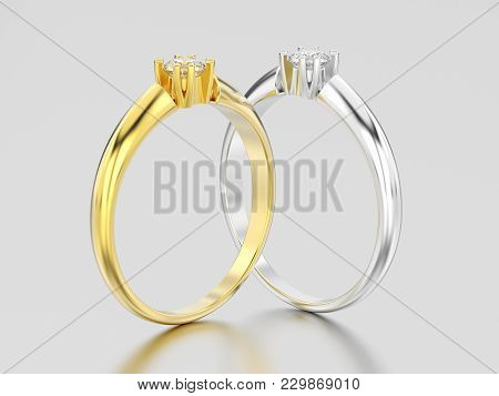 3d Illustration Two Yellow And White Gold Or Silver Engagement Solitaire Double Prong Basket Diamond