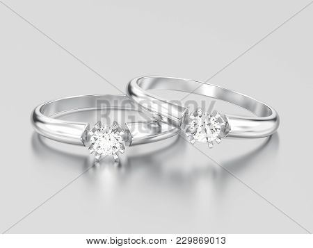 3d Illustration Two White Gold Or Silver Engagement Solitaire Double Prong Basket Diamond Rings On A