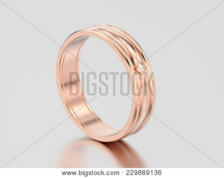 3d Illustration Rose Gold Matching Couples Wedding Diamond Ring Bands On A Gray Background