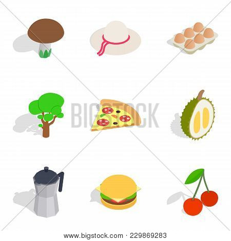 Detox Cafe Icons Set. Isometric Set Of 9 Detox Cafe Vector Icons For Web Isolated On White Backgroun