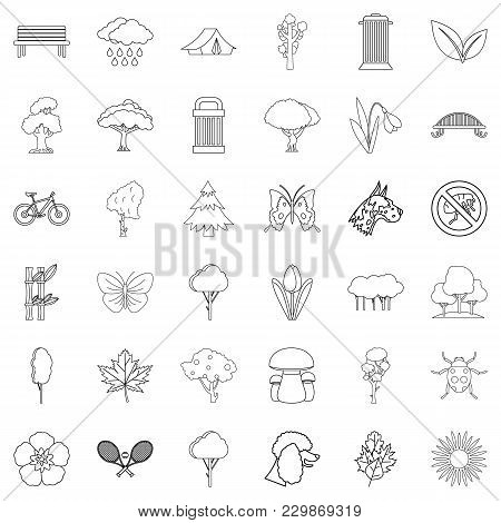 Eco Protection Icons Set. Outline Set Of 36 Eco Protection Vector Icons For Web Isolated On White Ba