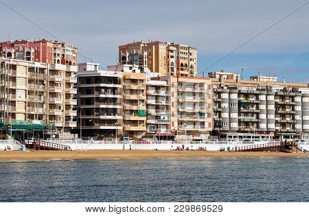 Torrevieja, Spain - March 04, 2018: Beach Los Locos In The Torrevieja Resort City. Torrevieja Is A M